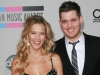 Michael Buble and fiancee Debbie Timuss