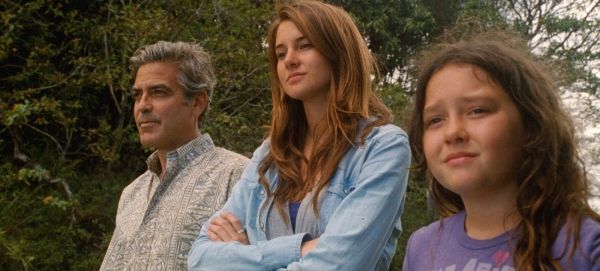 George Clooney, Shailene Woodley, and Amara Miller