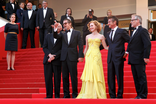 Sean Penn, Jessica Chastain and Brad Pitt