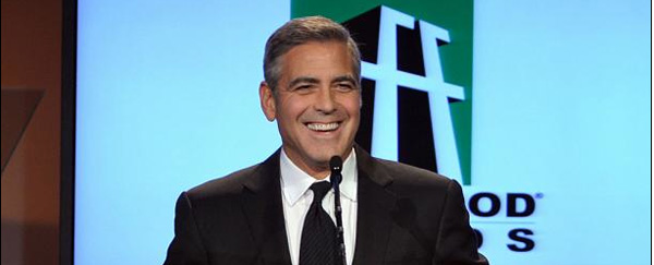 George Clooney by podium Hollywood Awards 600x243