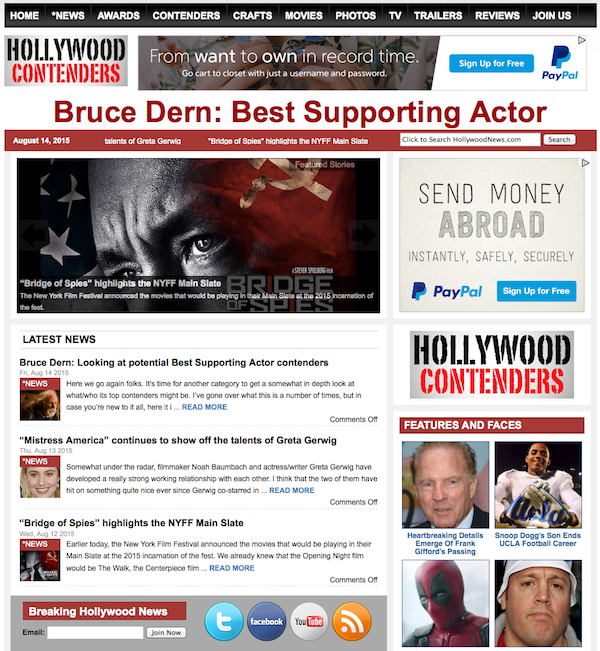 HOLLYWOOD CONTENDERS FRONT PAGE