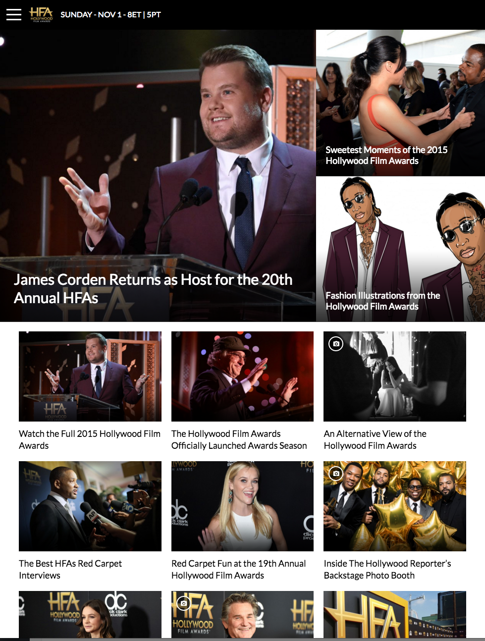 2016 HFAs website frontpage